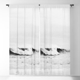 Minimalist Black and White Ocean Wave Photograph Blackout Curtain