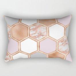 Mixed rose gold pinks and marble geometric Rectangular Pillow