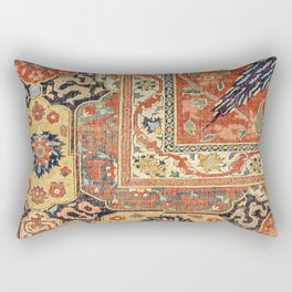 Indian Trellis II // 17th Century Ornate Medallion Red Blue Green Flowers Leaf Colorful Rug Pattern Rectangular Pillow