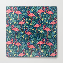 Flamingo Blue Pattern Metal Print
