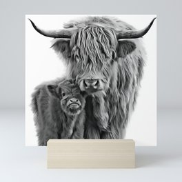 Highland Cow and The Baby Mini Art Print