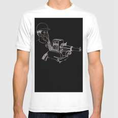 Gasmask Projector                          White Mens Fitted Tee MEDIUM