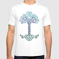 Woven Tree of Life - Cool White Mens Fitted Tee MEDIUM
