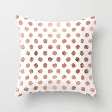 Stylish rose gold polka dots brushstrokes pattern Throw Pillow