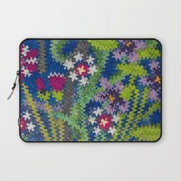 Starry Floral Felted Wool, Blue Laptop Sleeve