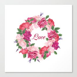 Floral wreath with rose and leaves Canvas Print
