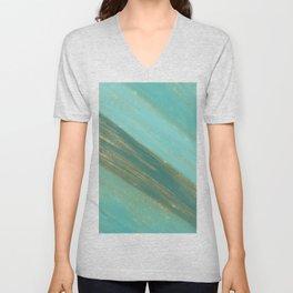 Abstract gold glitter teal green watercolor brushstrokes Unisex V-Neck