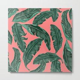 Banana leaves tropical leaves green pink #homedecor Metal Print