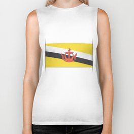 Flag of Brunei.  The slit in the paper with shadows. Biker Tank