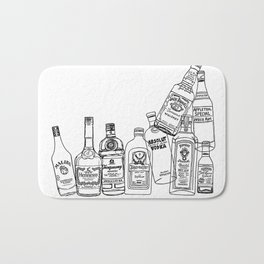 Alcohol Bottles (White) Bath Mat