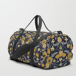 Navy Blue, Turquoise, Cream & Mustard Yellow Dark Floral Pattern Duffle Bag