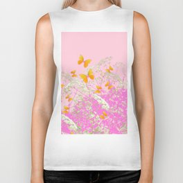 GOLDEN BUTTERFLIES IN PINK LACE GARDEN Biker Tank