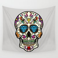 mexican Wall Tapestries featuring Mexican Skull by Pancho the Macho