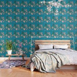 Dogwood Tree Flowers (aqua background) Wallpaper