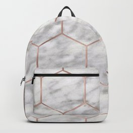 Marble rose gold hexagons Backpack