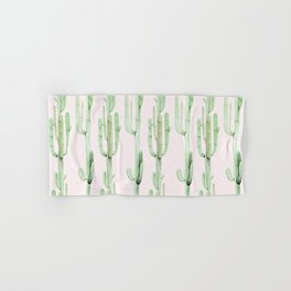 Green and Coral Pink Cactus Stack Pattern Hand & Bath Towel