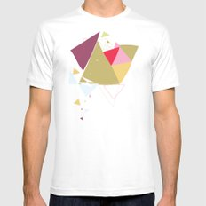 Exploding Triangles//Four White Mens Fitted Tee SMALL