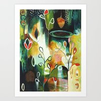 "flora bowley Art Prints featuring ""Deep Growth"" Original Painting by Flora Bowley by Flora Bowley"