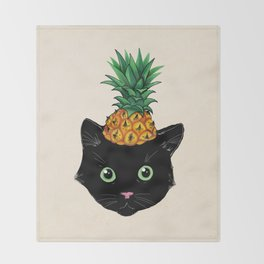 Pineapple Kitty Throw Blanket