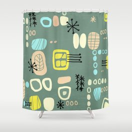 Mid Century Mod Digital Bark cloth Shower Curtain