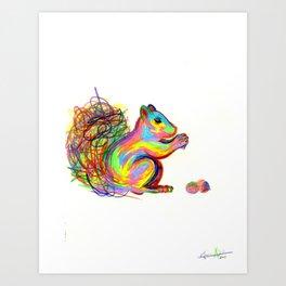 psychedelic squirrel Art Print