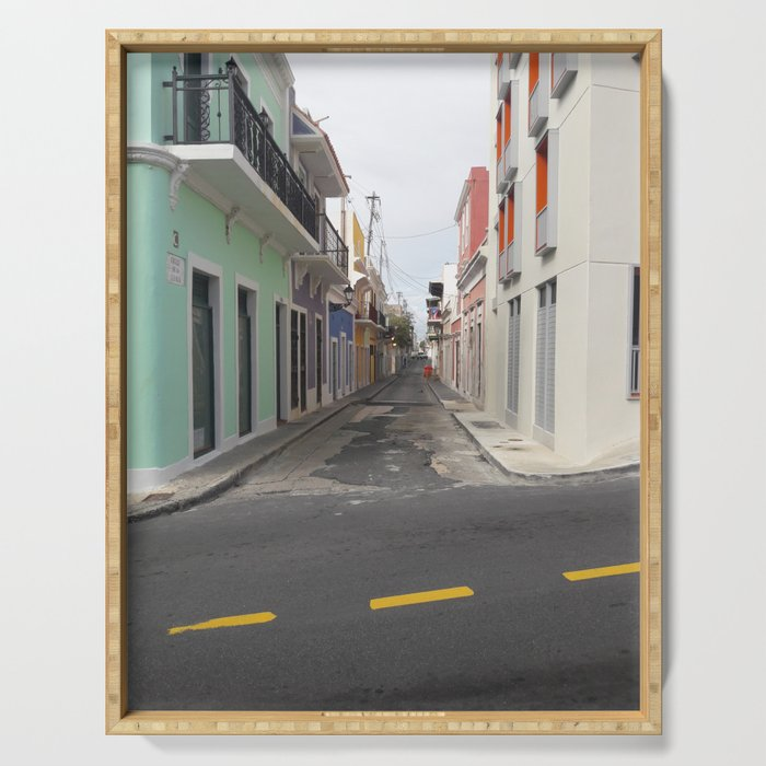 Street View of Old San Juan Puerto Rico Serving Tray