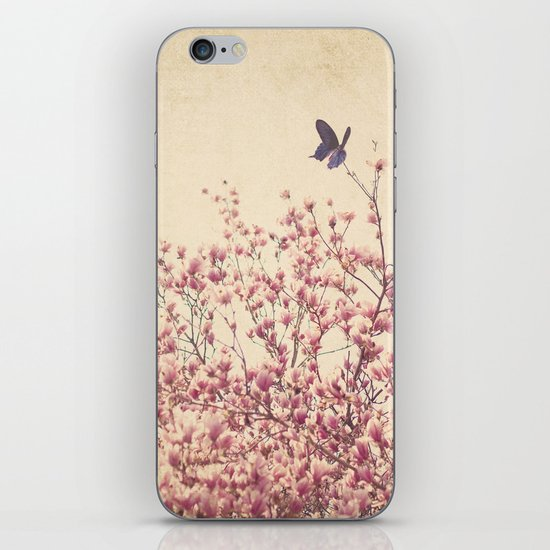 Butterfly and Pink Blossoms iPhone & iPod Skin