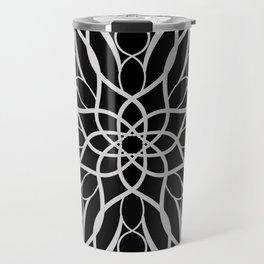 Floral Black and White Mandala Travel Mug