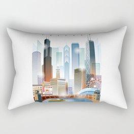 Chicago city skyline painting Rectangular Pillow