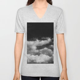Clouds in black and white Unisex V-Neck
