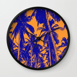 Palm Trees Design in Blue and Orange Wall Clock
