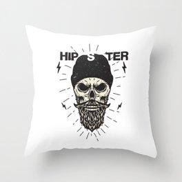 Hipster Skull Skeleton Art Throw Pillow