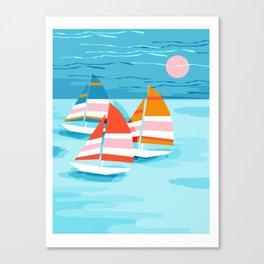 Popin - memphis sports retro throwback neon sailing sailboat cool rad gnarly trendy watersports Canvas Print