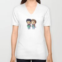 stiles V-neck T-shirts featuring Caroling Derek&Stiles by MGNemesi