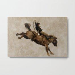 Western-style Bucking Bronco Cowboy Metal Print
