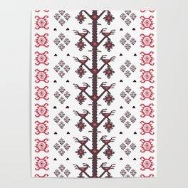 Tribal Ethnic Love Birds Kilim Rug Pattern Poster
