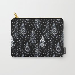 Christmas trees in the snow on the edge of the forest. Carry-All Pouch