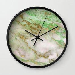 marble green glitter Wall Clock