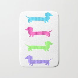 Chevron Dachshunds Bath Mat