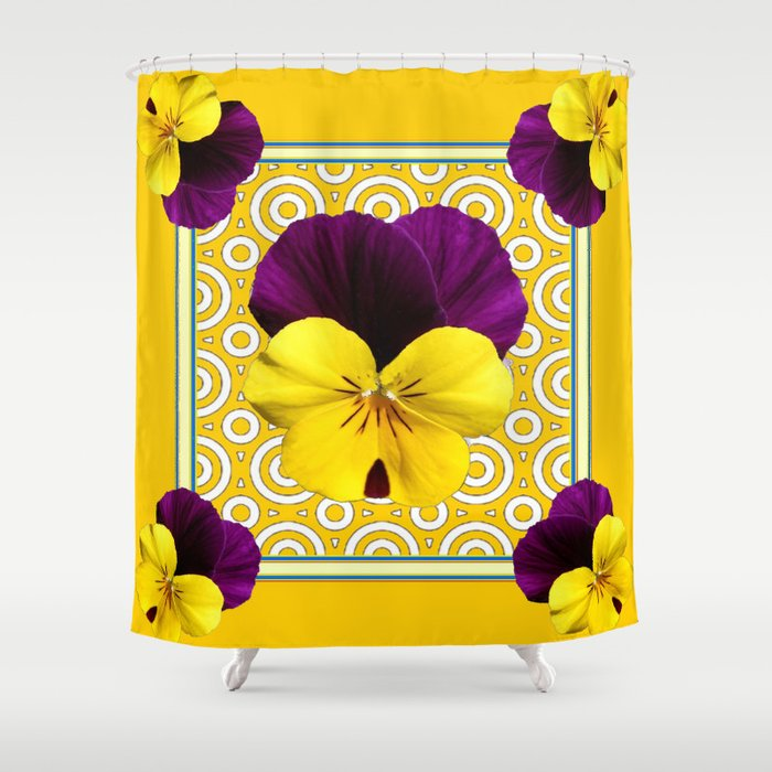 Golden Modern Art Deco Purple Pansy Pattern Shower Curtain By Sharlesart