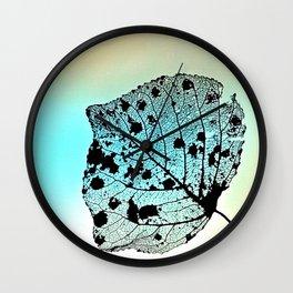 Weathered Poplar Leaf, Skeleton leaf Wall Clock