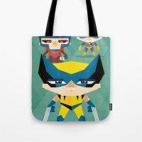 x men Tote Bags featuring X Men fan art by danvinci