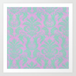 Modern vintage teal purple floral damask pattern Art Print