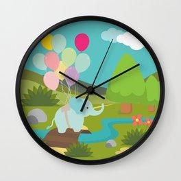 Elephant & Balloons, nursery decor , Wall Clock
