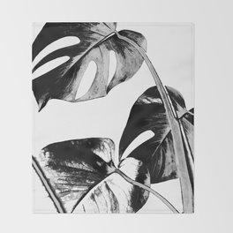 Black monstera leaves watercolor Throw Blanket