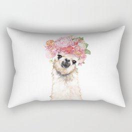 Llama with Beautiful Flowers Crown Rectangular Pillow