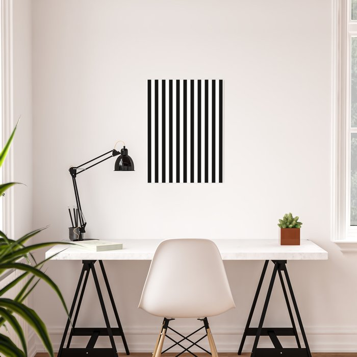 Stripe Black And White Vertical Line Bold Minimalism Poster