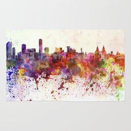Liverpool skyline in watercolor background Rug