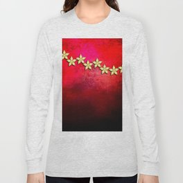 Spectacular gold flowers in red and black grunge texture Long Sleeve T-shirt