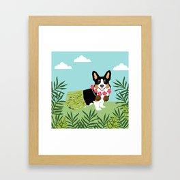 Tri Corgi Hula Dog Summer Tropical Palm Print Palm Tree Dog Framed Art Print